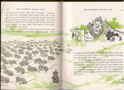 """A couple pages from the 1st Edition of """"The Wonderful Wizard of Oz"""" as meticulously reproduced in a 2010 limited edition by Charles Winthrope & Sons, part of the Dalenberg Library's L. Frank Baum collection."""