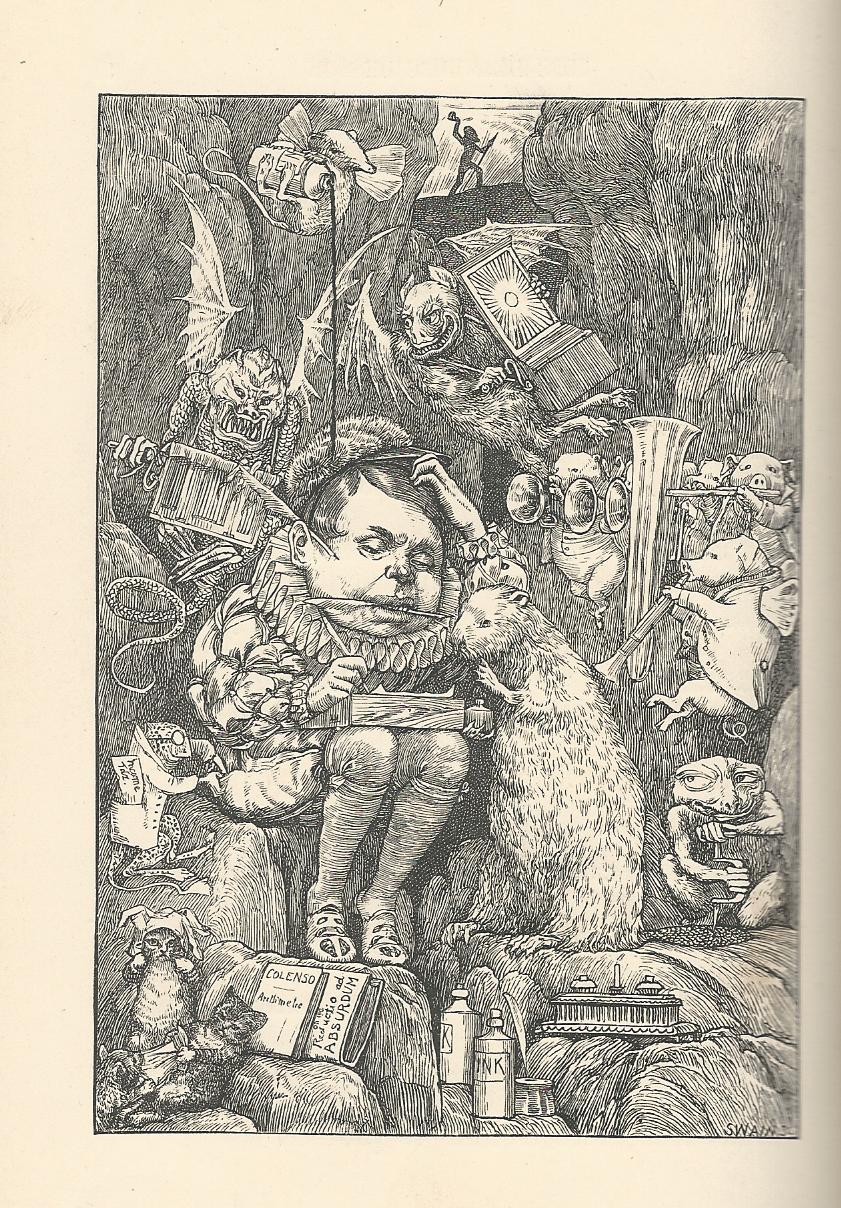 "Henry Holiday's interpretation of ""The Beaver's Lesson"" from The Hunting of the Snark, bearing more resemblance to something by Hieronymus Bosch than to his fellow pre-Raphaelites.  The lines that inspired this plate:  ""The Beaver brought paper, portfolio, pens, / And ink in unfailing supplies: / While strange creepy creatures came out of their dens, / And watched them with wondering eyes."""