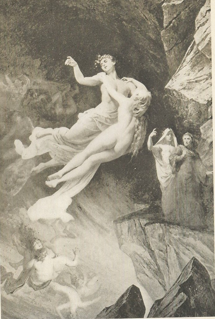 """Francesca and Paolo on the hell-wind, frontispiece to The Divine Comedy of Dante Alighieri, translated by Henry Wadsworth Longfellow, volume I, The Davos Press (New York), 1909. In The Dalenberg Library of Antique Popular Literature.   This illustration, from the Longfellow translation, is similar to the Doré that inspired Tchaikovsky. While we love Longfellow at the Dalenberg Library, his version of The Divine Comedy is not his best-remembered production. It seems to suffer from a slavish devotion to transliterating the Italian lines into English, producing many examples of inverted syntax, often to the point where you cannot follow the story. To be sure, there is some charming 19th Century language (such as when Longfellow characterizes the sinners of passion on Dante's second level of Hell as """"carnal malefactors""""). Longfellow botches the most memorable quote in Dante's scene, where Francesca says """". . .There is no greater sorrow/Than to be mindful of the happy time/In misery. . . ."""" The same line is rendered much more poetically by Dorothy Sayers in her 1949 translation: """". . .The bitterest of woes/Is to remember in our wretchedness/Old happy times. . . ."""""""