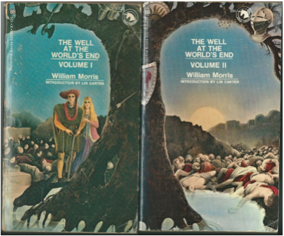"""Dalenberg Library copies of 1970 Ballantine Adult Fantasy 2-volume paperback edition of """"The Well at the World's End."""" Best taken in small doses, Morris's prose is rife with archaisms and quasi-medieval diction, much like those two other great pre-Tolkien fantasists, E.R. Eddison and Lord Dunsany."""
